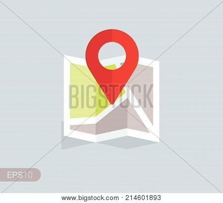 Flat design location map with red pin label marker. Vector EPS 10.