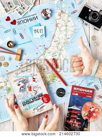 Japanese Flatlay With Japanese Map, Book And Souvenirs
