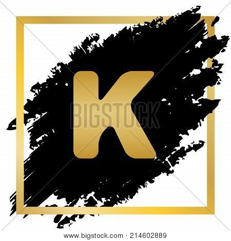 Letter K sign design template element. Vector. Golden icon at black spot inside golden frame on white background.