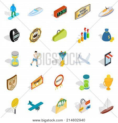 Receiving a reward icons set. Isometric set of 25 receiving a reward vector icons for web isolated on white background