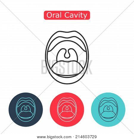 Open Mouth with Teeth and Tongue line icon isolated on white background. Dental concept. Symbol of communication. Illustration for info graphics, websites and print media. Editable stroke.