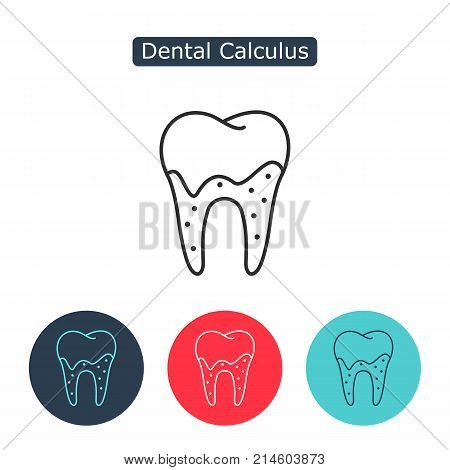 Dental calculus with bacteria image. Tartar or calculus teeth outline vector icon. Dental concept. Medicine symbol for info graphics, websites and print media. Editable stroke.