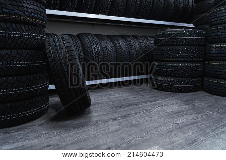 A Large Number Of Car Tires. Car Tire Store