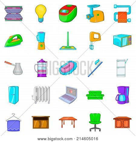 Apartment icons set. Cartoon set of 25 apartment vector icons for web isolated on white background