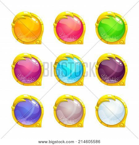 Beautiful colorful round buttons with golden border. Vector assets for web or game design. Decorative GUI elements, isolated on white background.