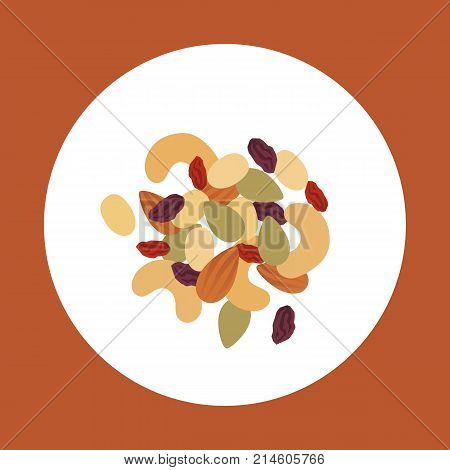 Trail Mix Vector Illustration. Nuts And Dried Berries Icon.