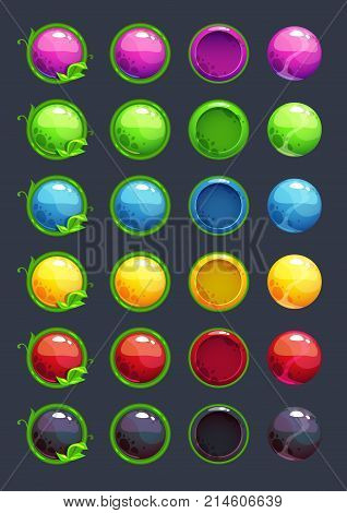 Cartoon colorful vector round buttons with decorative floral elements. Vector assets for game or web design.