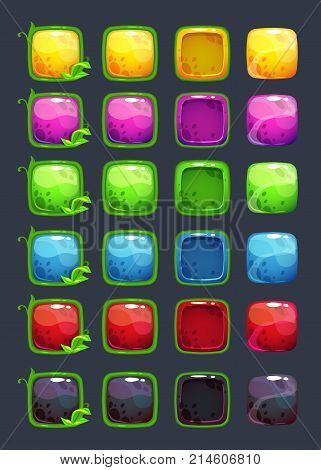 Cartoon colorful vector square buttons with decorative floral elements. Vector assets for game or web design.