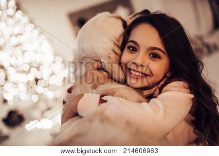 Girl With Dog On New Year's Eve