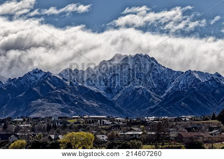 beautiful scenic of snow mountan in wanaka town southland new zeland