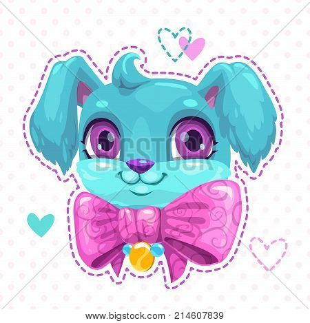 Little cute cartoon blue fluffy puppy face. Funny young dog with big pink bow. Adorable girlish patch template. Cool print for girlie t shirt design.