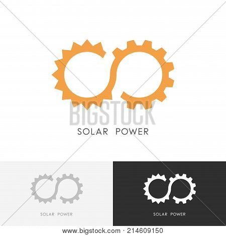Solar power logo - sun, gear wheel or pinion and infinity symbol. Alternative energy source, industry and ecology vector icon.