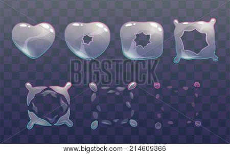 Transparent heart bubble burst sprites. Vector frames for animation. GUI assets. poster
