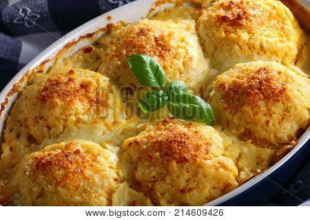 Tasty Baked Dumplings Stuffed With Ragout