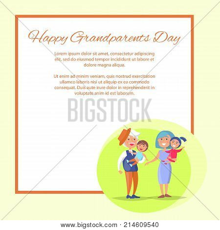 Happy grandparents day poster with senior couple holding children on hand, grandpa and grandma with kids vector with place for text in frame