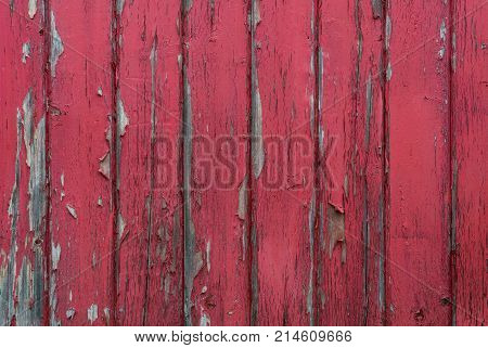 Red Paint Peels Off Wood Slat Wall Background Image