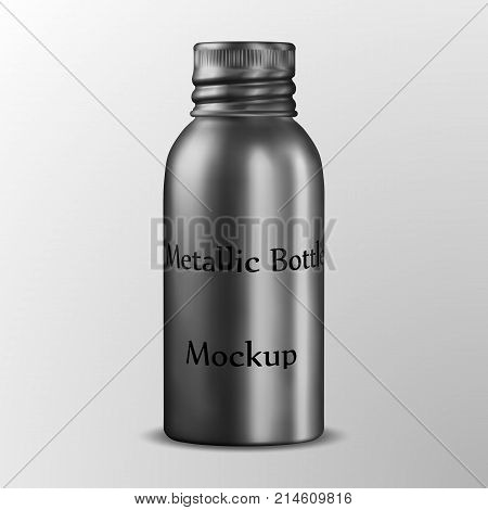 eps10. Aluminum Cosmetic Packing Metal Bottles, Metal Storage Box, Essential Oil Bottle with aluminum screw cap