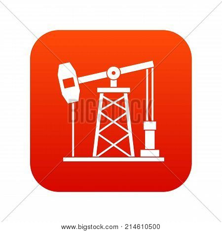 Oil derrick icon digital red for any design isolated on white vector illustration