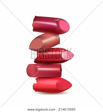 Broken lipstick make up isolated on white background. Template to advertise lipstick various colors. Fashion and beauty illustration. Vector Template