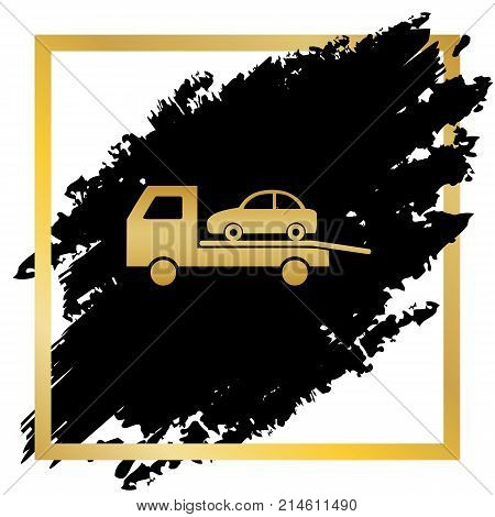 Tow car evacuation sign. Vector. Golden icon at black spot inside golden frame on white background.