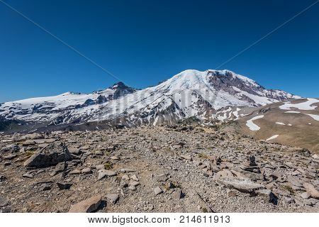Rocky Top Of Burroughs Mountain Looking Towards Rainier