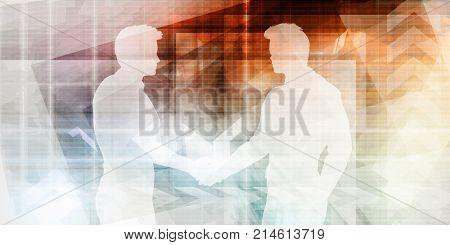 Business Handshake Between Two Companies or Parties