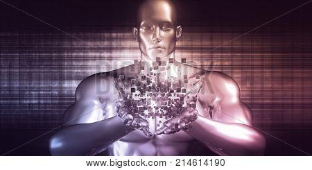 Advanced Blockchain Ideas as a Futuristic Concept Abstract 3D Render