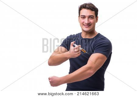 Young man in doping concept isolated on white poster