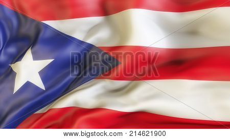 Flag Puerto Rico Waiving Flag of Puerto Rico, Illustration , 3d