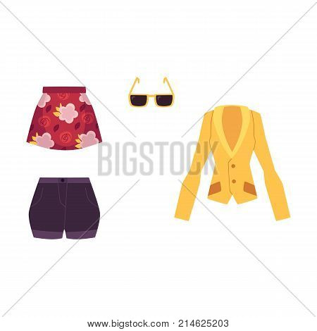 Summer outfit - jacket, mini skirt, shorts and sunglasses, cartoon vector illustration isolated on white background. Summer clothing and accessories - jacket, skirt, shorts and sunglasses, fashion set