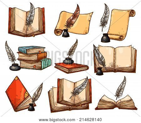 Old book and paper scroll with vintage feather pen and ink sketch set. Antique quill pen with parchment and open book with empty page isolated vector icon for education and literature themes design