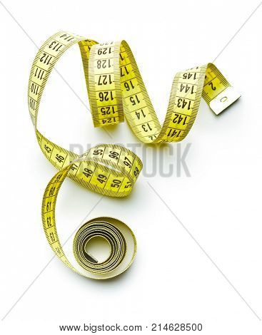 Measuring tape of the tailor isolated on white background.