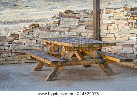 picnic table and shelter in  - Soapstone Prairie Natural Area, northern Colorado