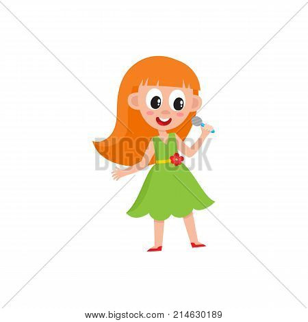 Pretty redhead girl in green singing in microphone, stage performance, karaoke party, cartoon vector illustration isolated on white background. Cute little girl singing song, holding microphone