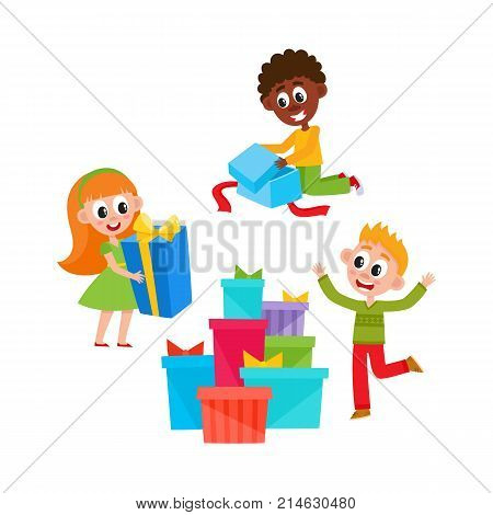 vector flat kids with presents. Young girl green dress holding present box with bright wrapping and bow near big pile of presents, african boy opening present box, caucasian child dancing isolated
