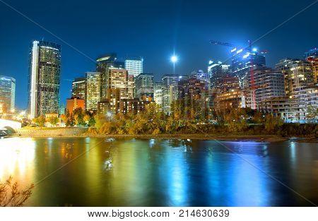 CALGARY, ALBERTA, CANADA - September 29 , 2017 - View of the Calgary, Alberta skyline in night time