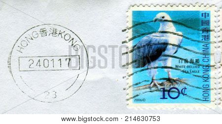 GOMEL, BELARUS, 19 NOVEMBER 2017, Stamp printed in HONG KONG, China shows image of the White-bellied Sea Eagle, circa 2006.