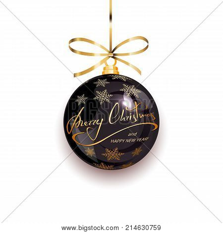 Black Christmas ball with golden snowflakes and lettering Merry Christmas and Happy New Year isolated on white background, illustration.