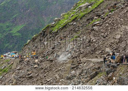 Manali, India - July 19, 2017: Landslide on the Manali - Leh Highway at the Rohtang pass area, HImachal Pradesh, India.