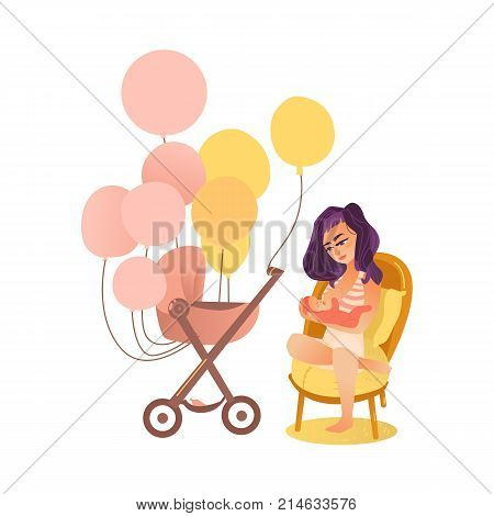 Mother breast feeding her newborn baby and pram decorated with many balloon, flat style vector illustration isolated on white background. Newborn baby set - breast feeding mom and pram with balloons
