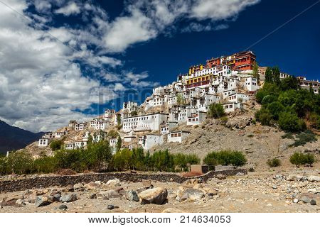 Thiksey gompa (Tibetan Buddhist monastery) in Himalayas. Ladakh, India