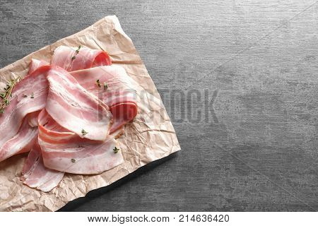 Rashers of bacon on table