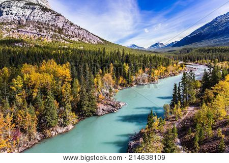 Dense forests cover the lake shores. Indian summer in Canada, warm sunny day in autumn. Abraham Lake is the most beautiful lake in the Rockies. The concept of ecological and active tourism