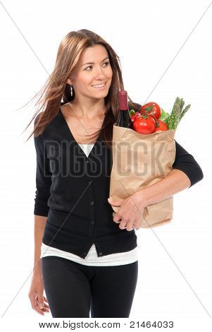 Woman Hold Shopping Paper Bag Full Of Vegetarian Groceries