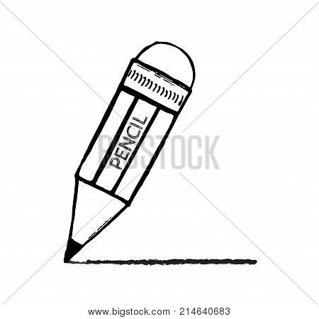 Pencil sketch cartoon vector illustration. Hand-drawn pencil with a rubber - drawing