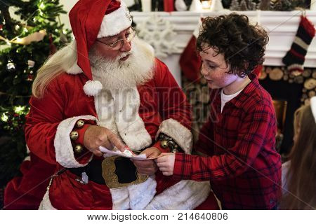 Santa claus and kid