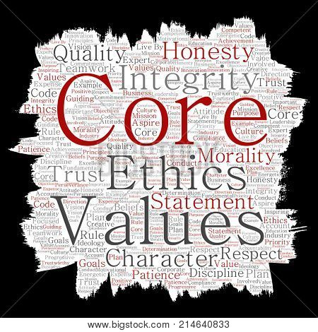 Conceptual core values integrity ethics paint brush paper concept word cloud isolated background. Collage of honesty quality trust, statement, character, perseverance, respect and trustworthy