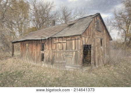 old abandoned barn or other farm building in late fall scenery, Colorado, digital charcoal painting effect