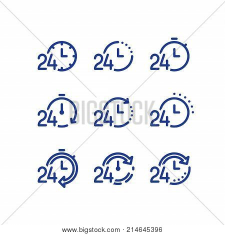 24 hours service daily, fast time logo, stop watch symbol, time period concept, working hours, quick timely delivery, express and urgent services, vector line icon set