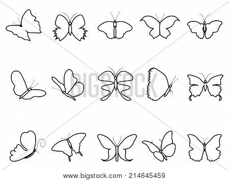 isolated butterfly outline icons set on white background